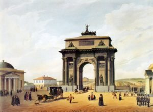 The Triumphal Arch of Moscow< a painting