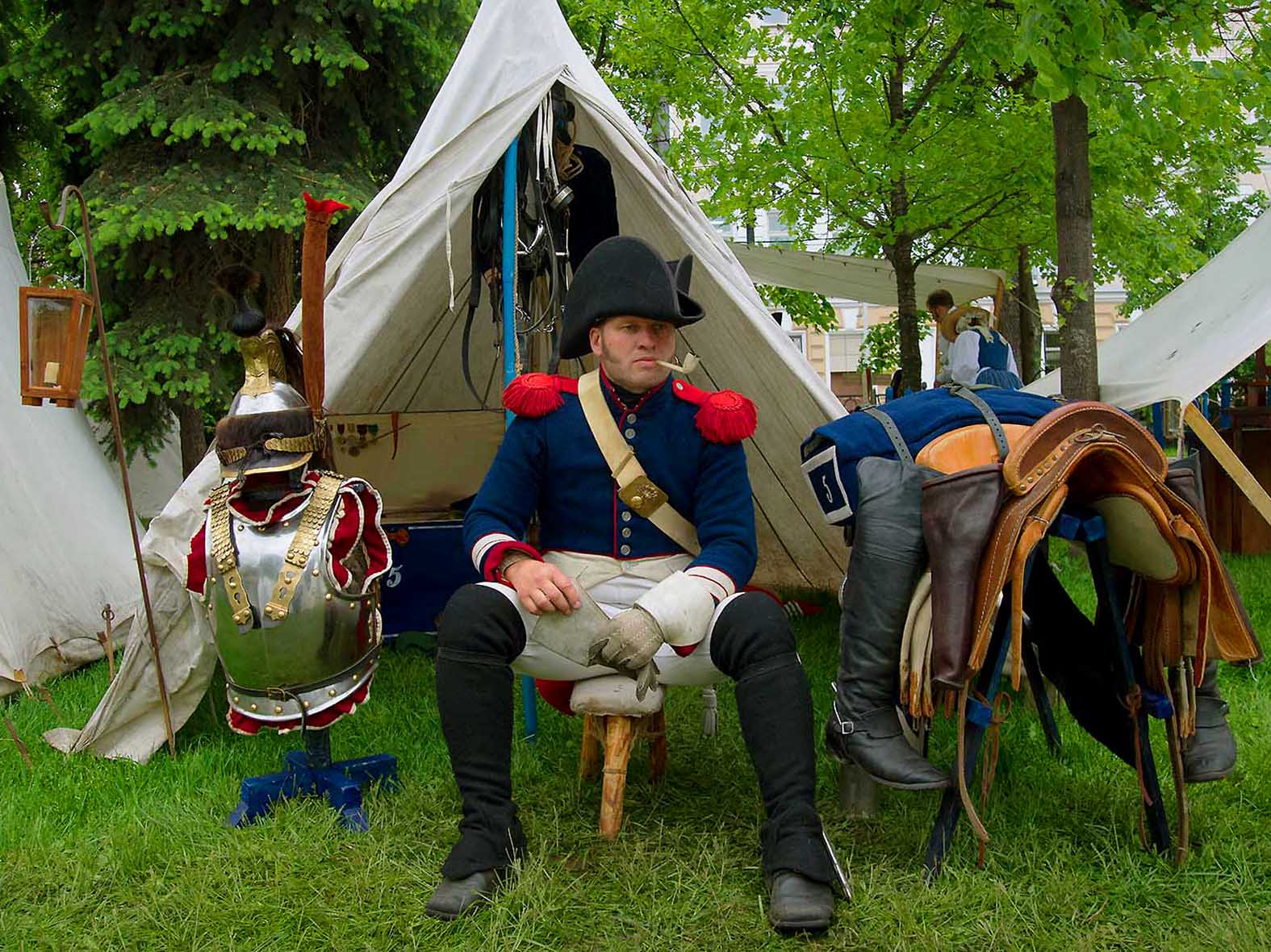The Borodino Battle, re-enactment, resting in the camp