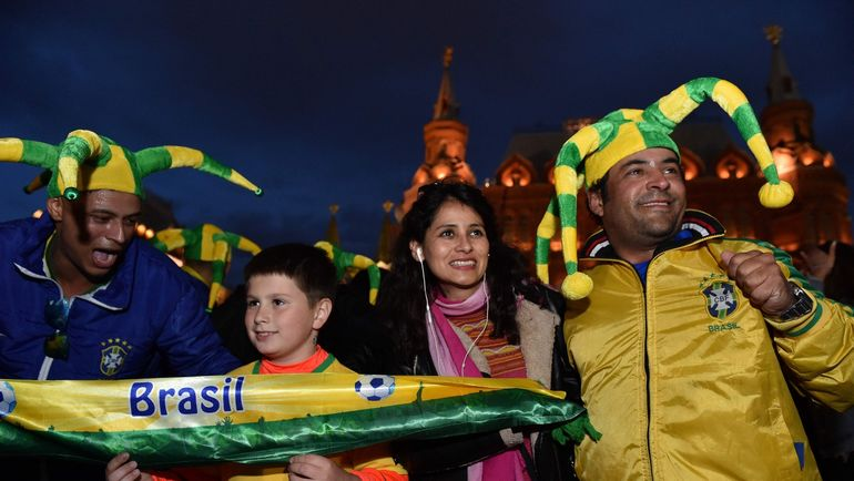 World Cup in Moscow Brasilian fans