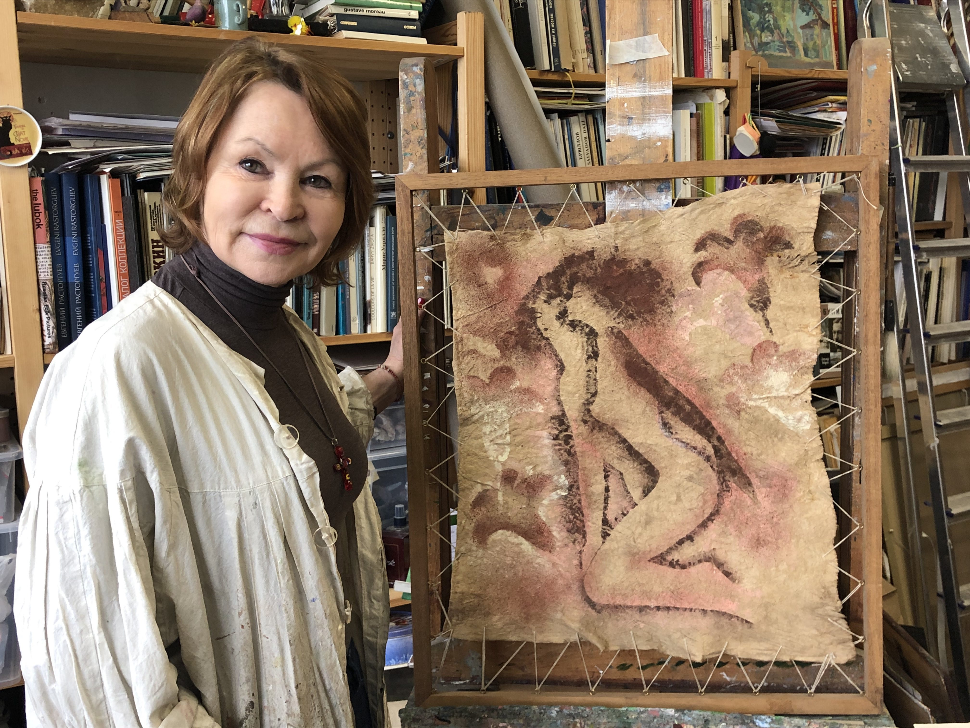Loudmila Varlamova, a painter, in her studio.